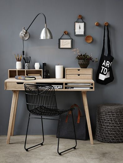 Pretty, gray-toned desk space.