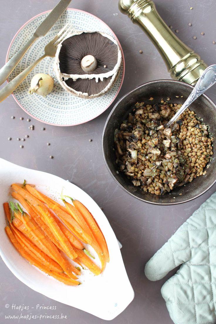 linzen, geroosterde wortelen en paddestoelen -2