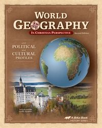 ABEKA WORLD GEOGRAPHY in Christian Perspective. 1 semester high school geography course.  Necessary items for course: World Geography student textbook, teacher's answer Key, World Geography MAP STUDIES workbook & key.