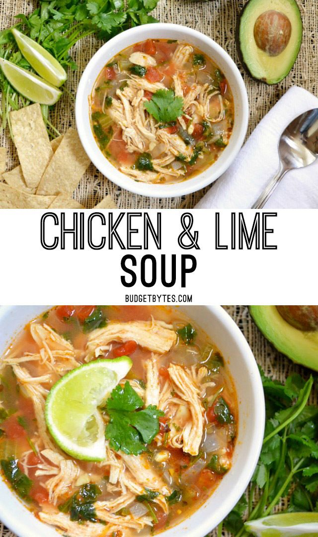 This Chicken and Lime Soup is light, fresh, and flavorful with shredded chicken, vegetables, and a tangy lime infused broth. @budgetbytes