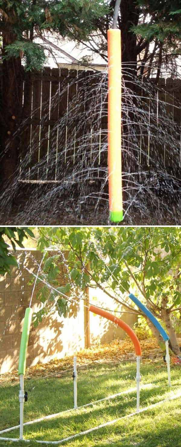 Make a simple water sprinkler with a pool noodle in a few minutes.(with tutorial links)