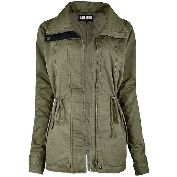 Ollie Arnes Women's Utility Militray Anorak Drawtring Parka Jackets... (115 BRL) ❤ liked on Polyvore featuring outerwear, anorak coat, military green parka, army green anorak, olive green anorak and olive green anorak jacket