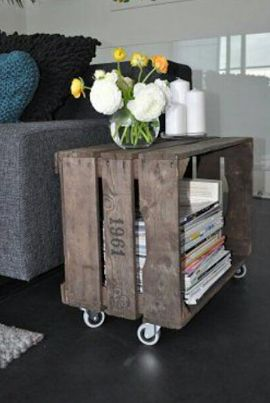 Atelier bricolage : revues rangées dans une ancienne caisse en bois d'origine industrielle