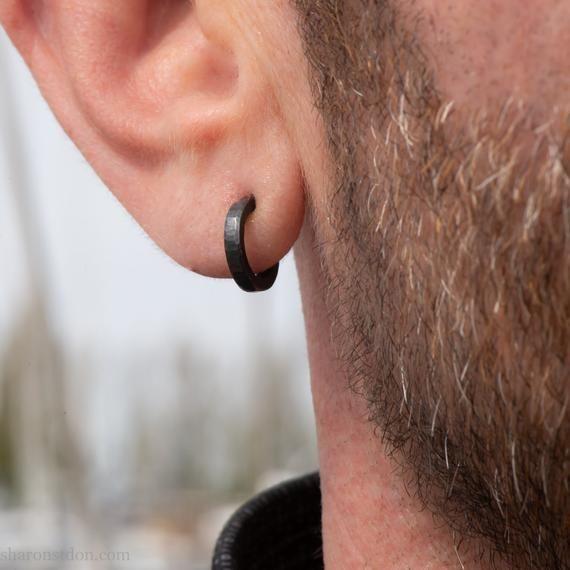 12mm X 2mm Small Sterling Silver Hoop Earrings Tiny Handmade Etsy Black Hoops Earrings Mens Earrings Hoop Hoop Earrings Small
