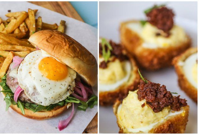 pig pen burger and fried deviled eggs-Manor Road adds not one, but TWO ...