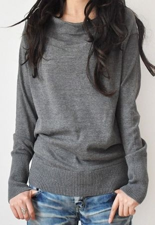 {Grey Boat Neck Batwing Sweater}
