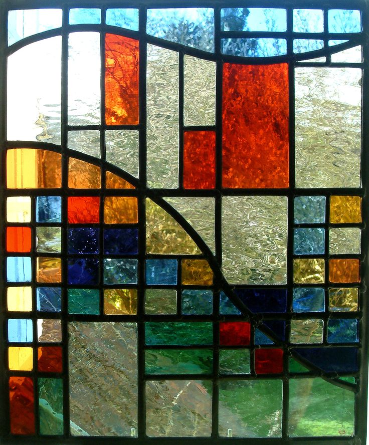 "This window was commissioned for a Bristol house in the style of Charles Rennie Mackintosh, and utilises textured ""water"" glass."