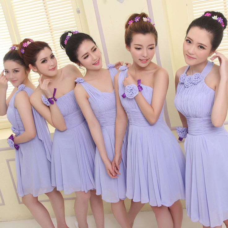 2014 Light Bridesmaids Dresses Short Plus Size Bridesmaid Dress Chiffon Pleat 5 Kinds Beautiful and Cheap Dress For Bridesmaids $32.51