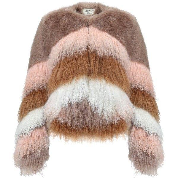 Urbancode Flossy Chubby Coat, Multi ($465) ❤ liked on Polyvore featuring outerwear, coats, brown coat, long sleeve coat, boho coat, urbancode and short coat