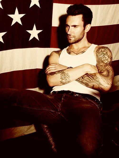 love the flags, tank, tattoos and of course the guy! :D