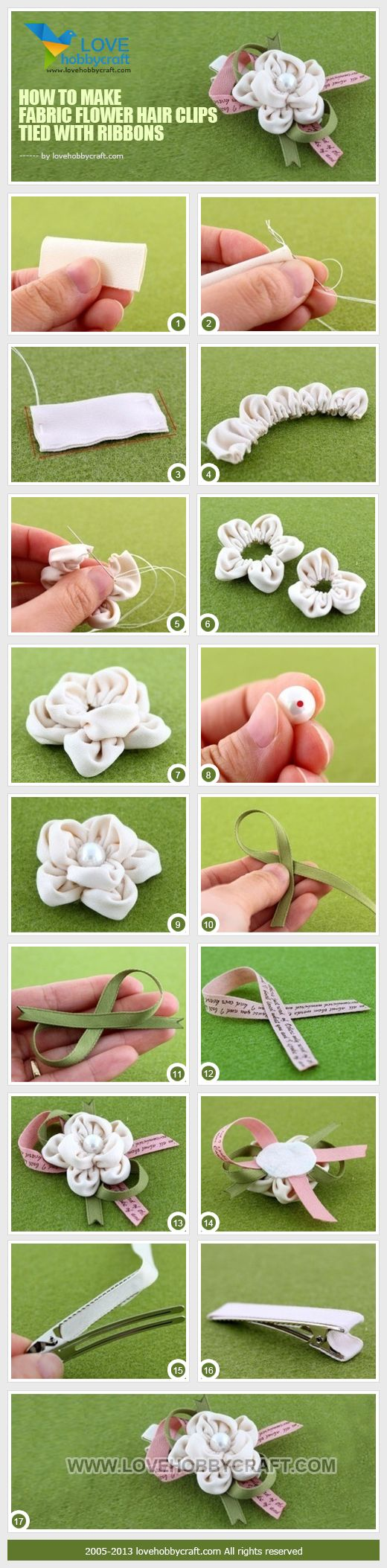 How to make fabric flower hair clips tied with ribbons
