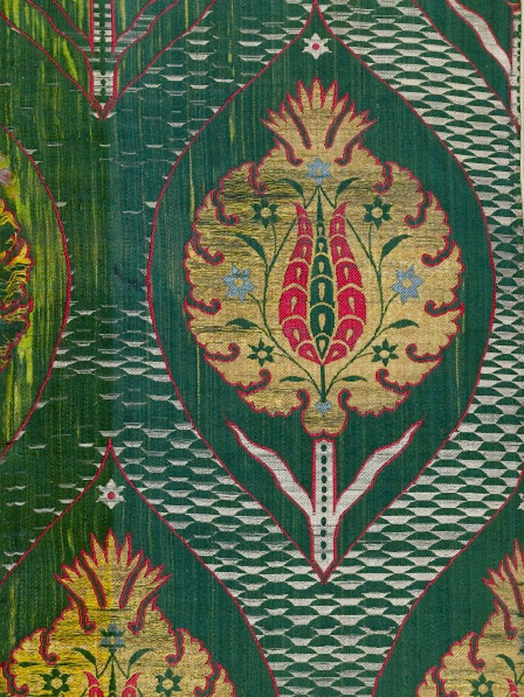 From the Textile Museum - Fragment of green-ground kemha, Istanbul, First half 17th century..