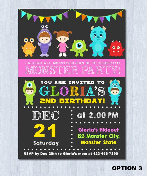 The 25 best Monsters inc invitations ideas on Pinterest Monster