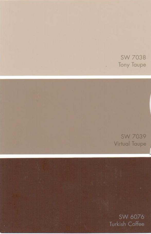 Tony Taupe SW 7038 Virtual Taupe SW 7039 Turkish Coffee SW