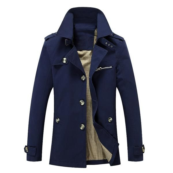 Twcx Mens Stylish Casual Long Hooded Solid Double-Breasted Coat Hoodie Outwear