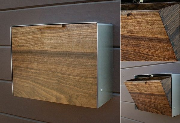 cool wall mounted mailbox design wood steel