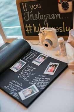 wedding guest book ideas - stick polaroid photos in a guest book and write a message next to it