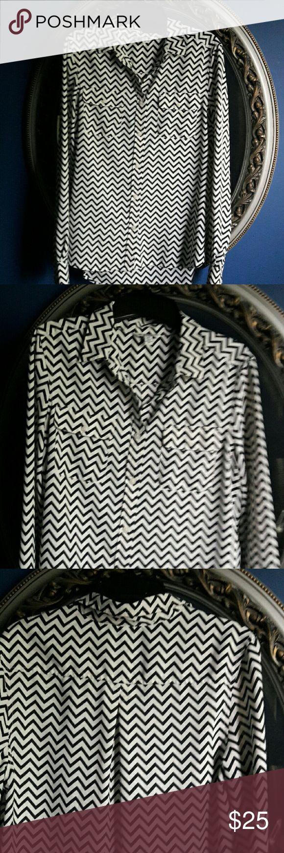 Chevron shirt Black and white chevron long sleeve button down shirt. American Eagle Outfitters Tops Button Down Shirts