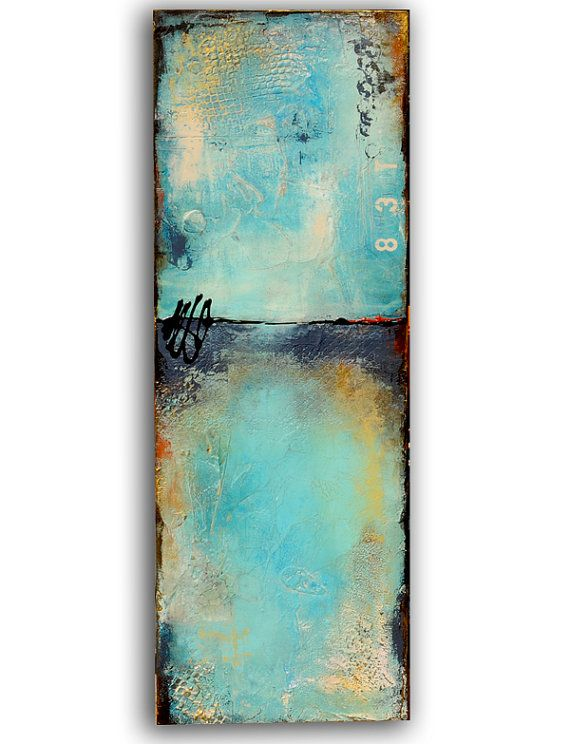 Title: Aquarius 83 This one of a kind painting was created on a solid wood hand made wood box that measures 12x36x2.5 - gorgeous colors and