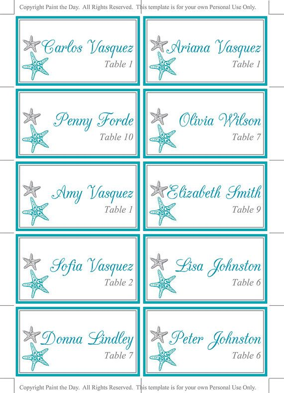 This designer place card set features a destination style Blissful Starfish design in ocean and silver - perfect for a beach theme wedding or aquarium wedding! Instantly download and print your own wedding place cards with this downloadable escort card! Your file is available immediately after purchase from your receipt.  ▬▬▬ COLOR CHANGE ▬▬▬  Prefer this design in a different color? Do not purchase this listing. Purchase our color change listing instead…