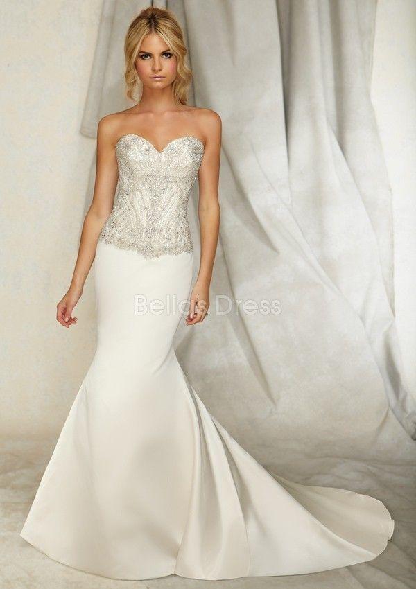 Graceful Sweetheart Mermaid Elastic Satin Dropped Waist Floor Length Wedding Dress