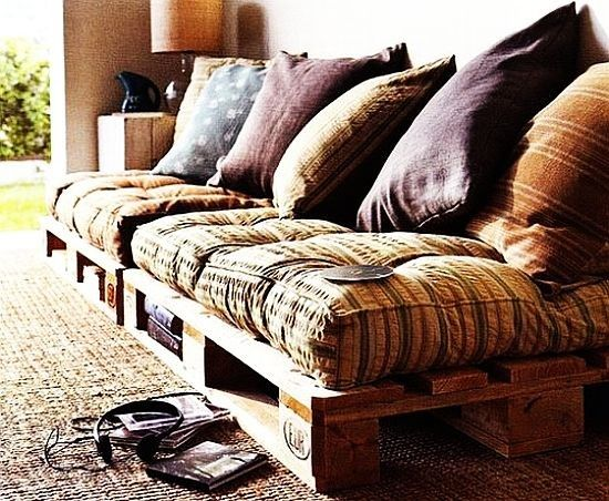 Lovely Undergrad: 8 Inspiring DIY Pallet Sofas    /This might be a solution for seating in the attic bedroom, since it can be moved upstairs easily and assembled there.