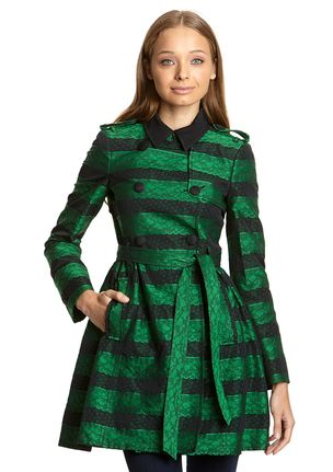 RED VALENTINO Green/Black Lace Striped Peacoat $ 1,195.00 $ 589.99