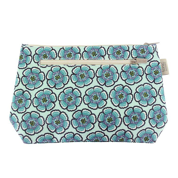 Flora Sea Green Large Cosmetic Bag - Waterproof