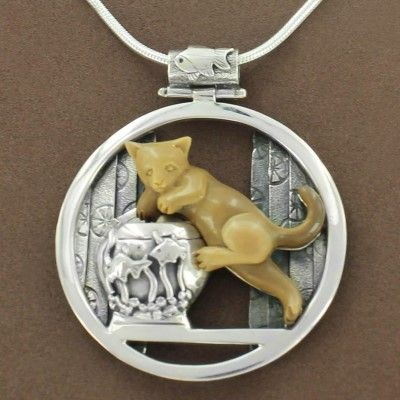 Sterling Silver Fossilized Walrus Ivory Cat & Fish Bowl Necklace by Zealandia - Fire and Ice