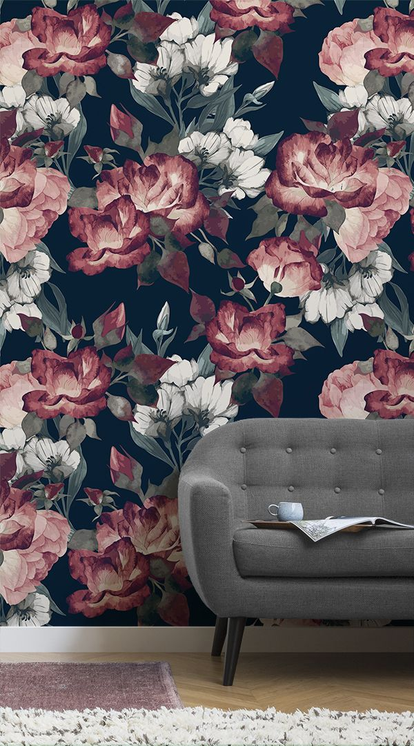 Our Deep Red Dark Floral Wall Mural is a beautiful example of how dark, deep color dominating a wallpaper can work perfectly in a home, looking stunningly elegant as a feature wall rather than suffocating the space in a room. #wallpaper #murals #wallmurals #interior #design #home #homedecor #decor #accentwall #inspiration