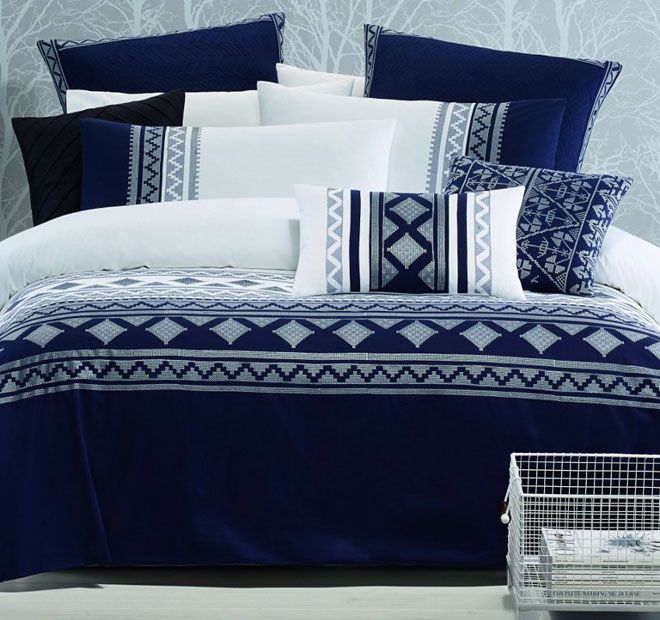 Lux Harper Quilt Cover Set Range Navy and White