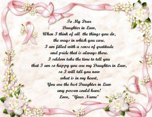 daughter in law sayings | Daughter in Law Pink Ribbon Personalized Poem Print