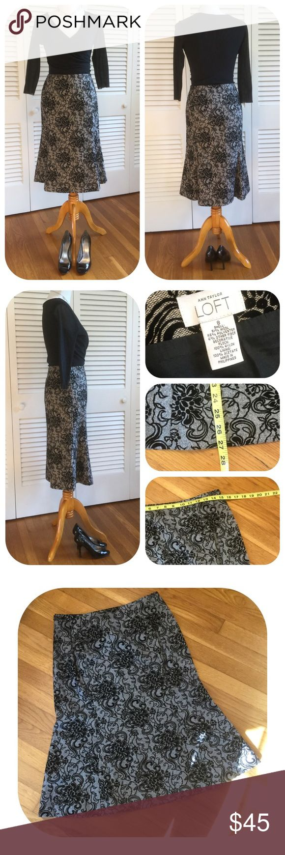 """LOFT Black & Grey Wool Skirt with Velvet Flocking LOFT Black & Grey Wool Skirt with Velvet Flocking. Trumpet silhouette. Size 8. Measures approximately 15"""" across waist, 27"""" long. Shown styled with Swear Pea Wrap Front Mesh Shirt, Nine West Peep Toe Pumps and Silver Disc Necklace, all for sale in My Closet. Bundle 3 items and receive 20% asking price. LOFT Skirts"""