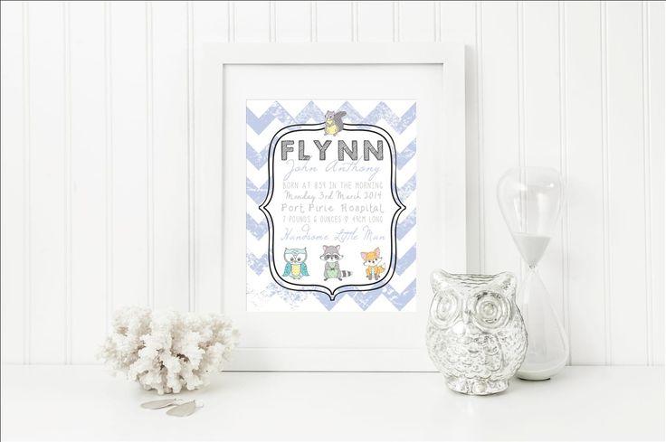Woodland Friends Birth Details Print Zara Stationery