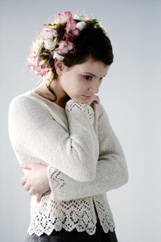 Gardenia, #knit linen cardigan, designed by Daniele Dietrich; Euroflax Linen