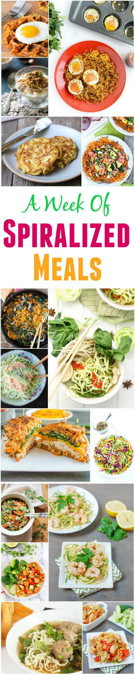 A Week of Spiralized Meals. Recipes for breakfast, lunch and dinner!