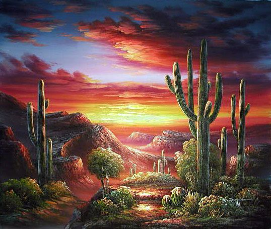 Cactus Landscape - oh the beautiful in this painting, can feel the warm off the sunset