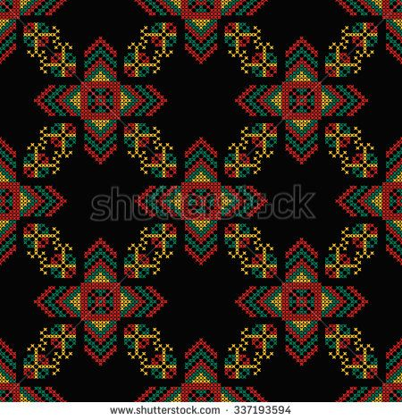 Seamless pattern. The cross-stitch. Yellow, red, green, and black colors. Crafts and Hobbies. A bright background. Symmetrical repetition. Vector illustration. - stock vector