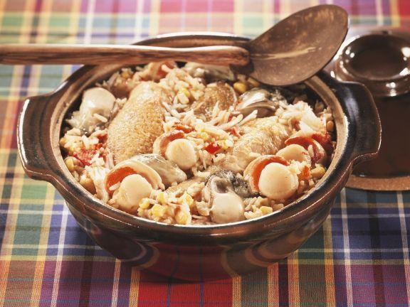 Indonesische Reispfanne mit Hähnchen, Jakobsmuscheln und Austern (Jambalaya) ist ein Rezept mit frischen Zutaten aus der Kategorie Muscheln. Probieren Sie dieses und weitere Rezepte von EAT SMARTER!