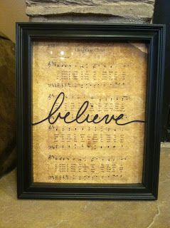 christmas sheet music with a word that corresponds with song on the frame... good use for the frames laying around.