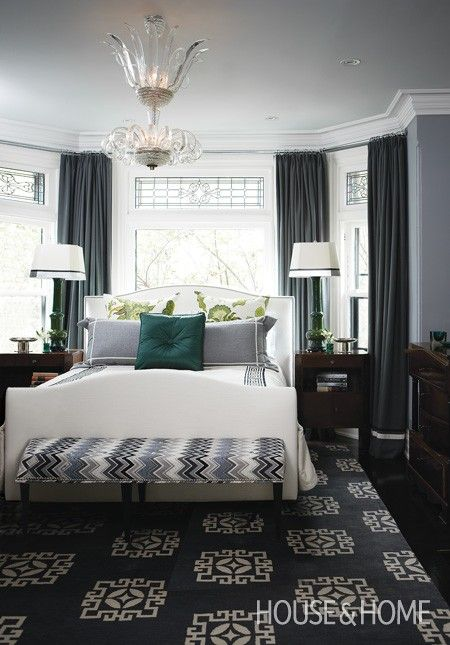 Photo Gallery: Tommy Smythe's Victorian Makeover Calming Grey Bedroom | http://houseandhome.com/design/photo-gallery-tommy-smythes-victorian-makeover?page=9 | Source: House & Home January 2012 issue Designer: Tommy Smythe