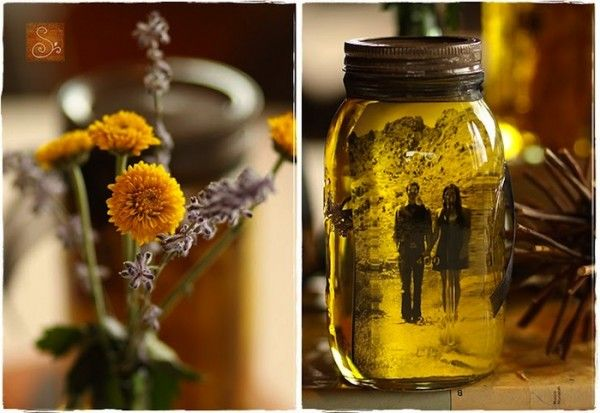 Vintage Photo Idea   place photo inside jar, fill jar with veg. oil, put dried flowers on opposite side of picture, seal lid with super glue.