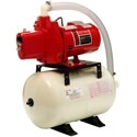 Red Lion 12 GPM 1/2 HP Cast Iron Shallow Well Jet Pump System (115V) w/ 6-Gallon Tank. This 1/2HP cast iron pump comes complete with a pressure tank system. This system is ideal for a 20ft or less well application.     The cast iron housing makes this pump very reliable and more quiet than it's thermoplastic counterparts. At 1/2HP it can pump 10 gallons per minute.