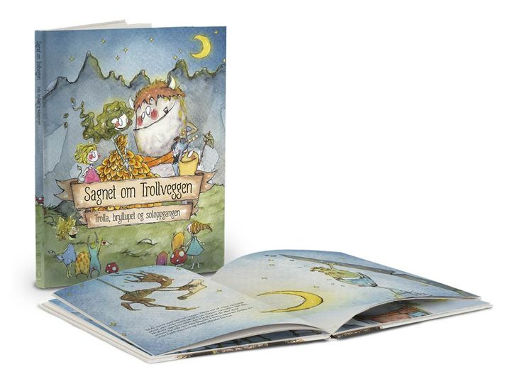 """Boka """"Sagnet om Trollveggen - Trolla, bryllupet og soloppgangen"""" - utgitt på Frittgående Fruers Forlag i Åndalsnes."""