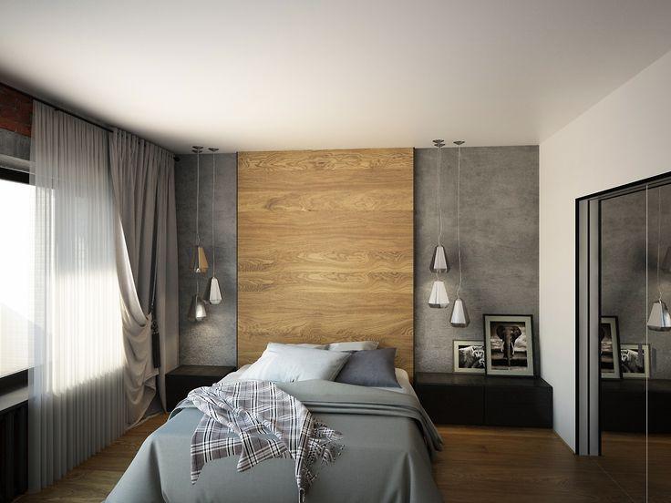 Квартира в urban стиле на Арбате #urbaninterior #interior_of_bedroom #интерьер_спальни #бетон_на_стенах #спальня_в_сером