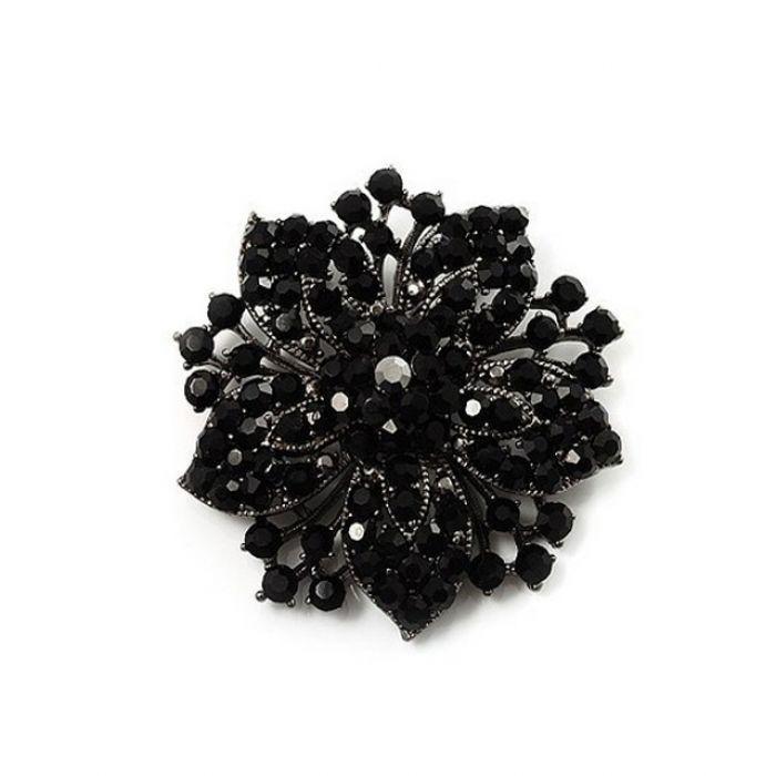 Брошка - Черный цветок