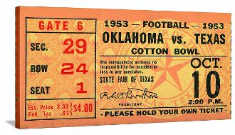 Oklahoma football ticket canvas art made from an authentic 1953 OU vs. Texas ticket