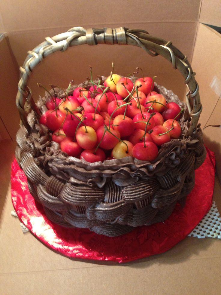 Basket of Cherries Angel Food Cake
