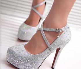 Women Glitter Rhinestones Studded Pumps Platform Wedge high heel Shoes Strappy