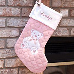Embroidered First Christmas Pink Stocking